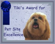 Tiki's Award for Pet Site Excellence